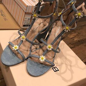 Floral denim sandal